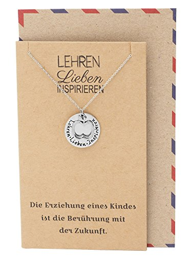 Quan Jewelry Teacher Appreciation Gifts, Apple Jewelry with Teach, Love, Inspire Gift and in German Greeting Card, Silver Tone -