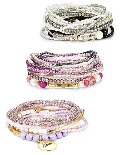 Finrezio 3 Sets Bohemian Beaded Bracelets for Women Multilayer Stretch Stackable Bracelet Set Multicolor Jewelry (Hope Bracelet Beaded)