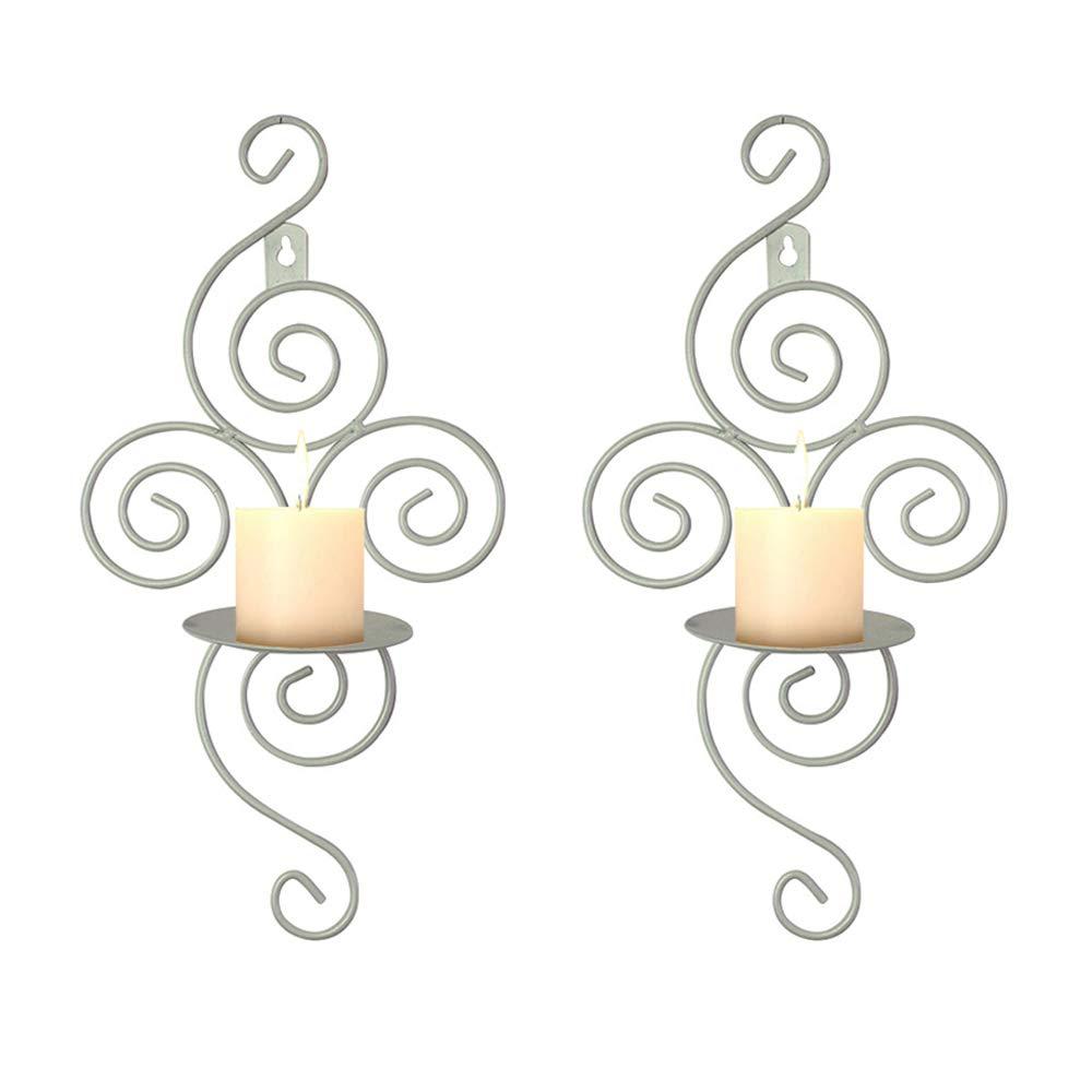 2PCS candela applique in ferro ondulati, decorazioni per la casa Copper portacandele da parete per matrimoni eventi