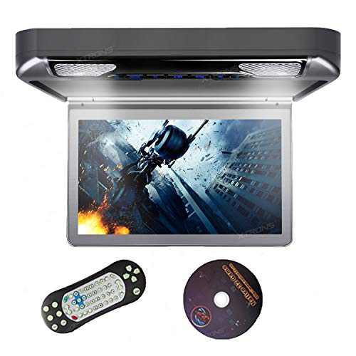 "XTRONS Grey 13.3"" HD 1080P Video Car MPV Roof Flip Down Slim Overhead DVD Player Wide Screen Ultra-Thin with HDMI Input"