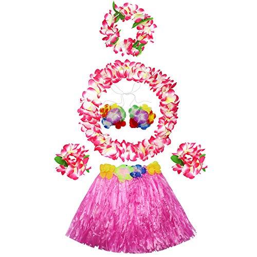 (30cm Hawaiian pink grass skirt performance costume set for girls)