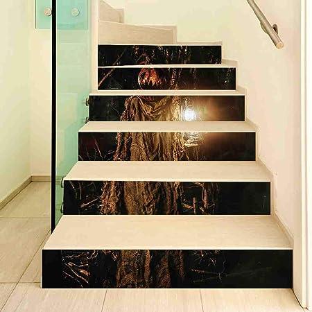 DSWIME Etiqueta engomada 3D de Halloween Etiqueta engomada de la escalera de la piedra sepulcral del cuervo Etiqueta engomada de la pared impermeable Arte Naturaleza Decoración del hogar Decoración de Halloween: Amazon.es: