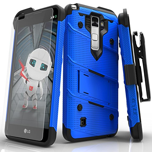 Zizo BOLT Series compatible with LG Stylo 2 Case Military Grade Drop Tested with Tempered Glass Screen Protector, Holster, Kickstand BLUE ()
