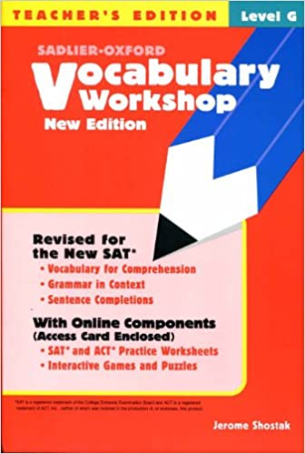 Vocabulary Workshop Level G Teacher S Edition