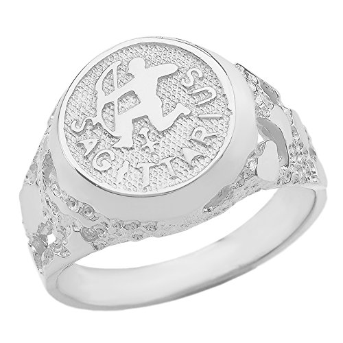 Solid 925 Sterling Silver Sagittarius Zodiac Sign Band Nugget Men's Ring (Size - Silver Bands Zodiac