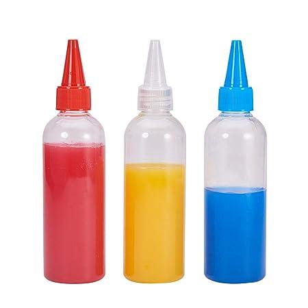 BENECREAT 15 Pack 100ml Botella de Plástico Transparente para Apretar Botellas, Tapones Rojos Azules y Blancos, para Buenas, Manualidades, Pegamento, ...