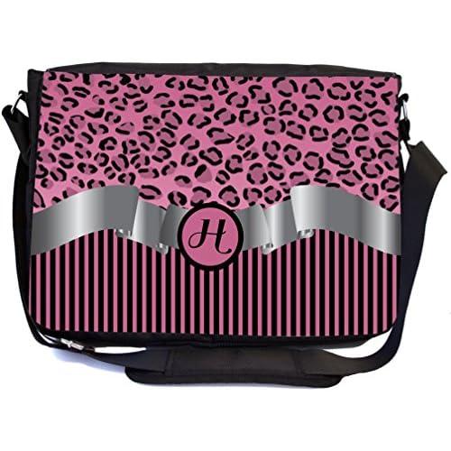 "Rikki Knight Letter ""H"" Light Pink Leopard Print Stripes Monogram Design Multifunctional Messenger Bag - School Bag - Laptop Bag - Includes Matching Compact Mirror"