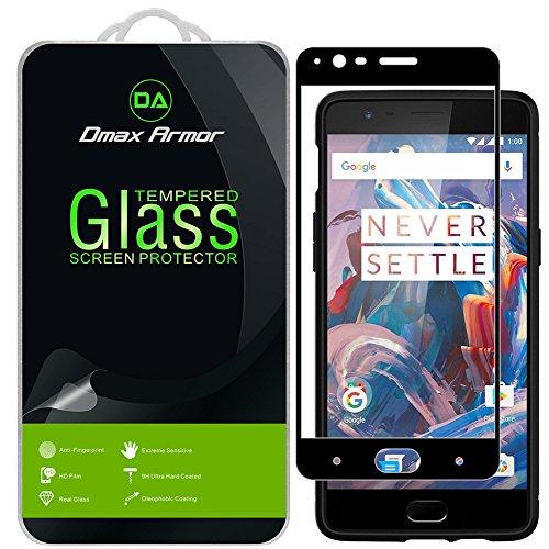 [2-Pack] Dmax Armor for OnePlus 3 / OnePlus 3T [Tempered Glass] Screen Protector, (Full Screen Coverage) with Lifetime Replacement (Black)