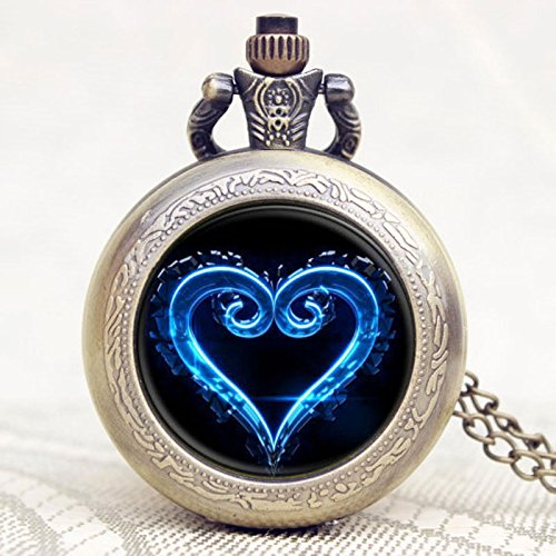 - Vintage Blue Heart Pocket Watch-Bronze Plated Pendant Necklace-Wearable Art Pocket Watch-Handmade Necklace Jewelry For Women Men Kids Gifts