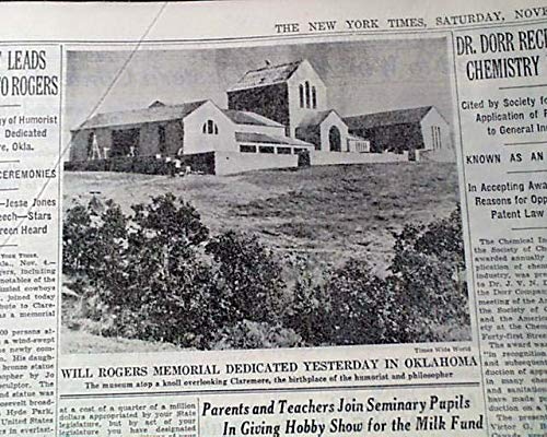 WILL ROGERS MEMORIAL MUSEUM Claremore Oklahoma Dedication w/FDR 1938 Newspaper THE NEW YORK TIMES, November 5, 1938