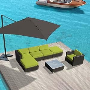 luxxella Patio al aire libre muebles de mimbre juego de sofá Gazebo Set
