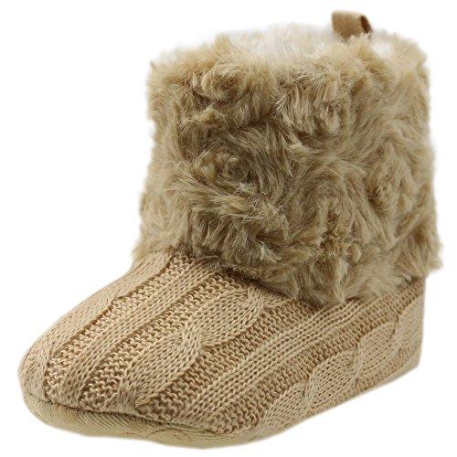 Orgrimmar Baby Girls Boys Knit Soft Sole Crib Shoes Warm Snow Boots (Medium 6-12 Months, khaki)