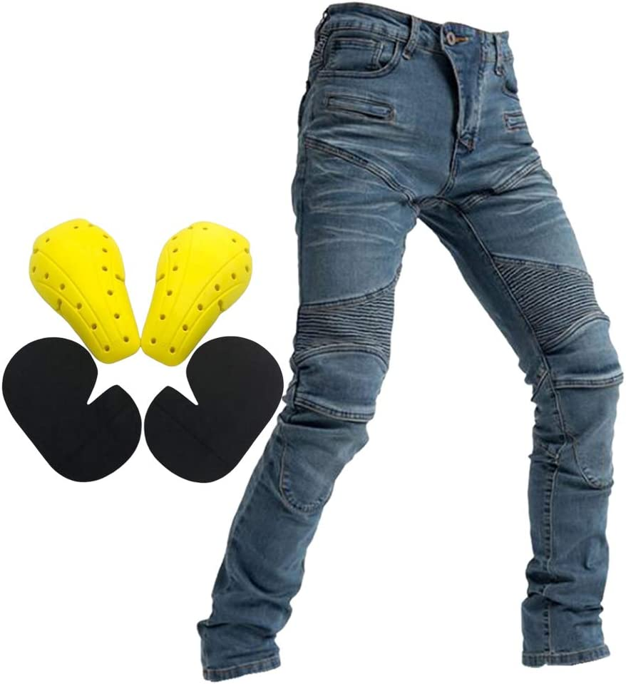 Bicyclette Courses Pantalon Jeans /Équitation avec Coussinets de Protections pour Activit/é du Cycliste H HILABEE Pantalon de Moto avec Protection Bleu