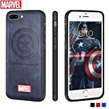 Marvel Avengers iPhone Leather Case Protective Cell Phone Case for Apple iPhone 8 Plus/iPhone 7 Plus Marvel Avengers Comic Super Hero Inspired Series 3D Premium Scratch-Resistant (Captain America)