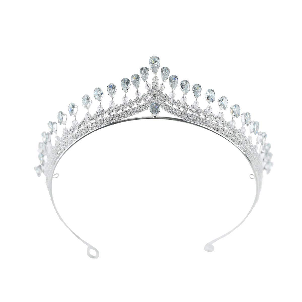 Girls Crown, Beautiful headdress/Bridal Charm Zircon Crown High-End Wedding Party Modeling Wedding Wedding Accessories. (Color : A)