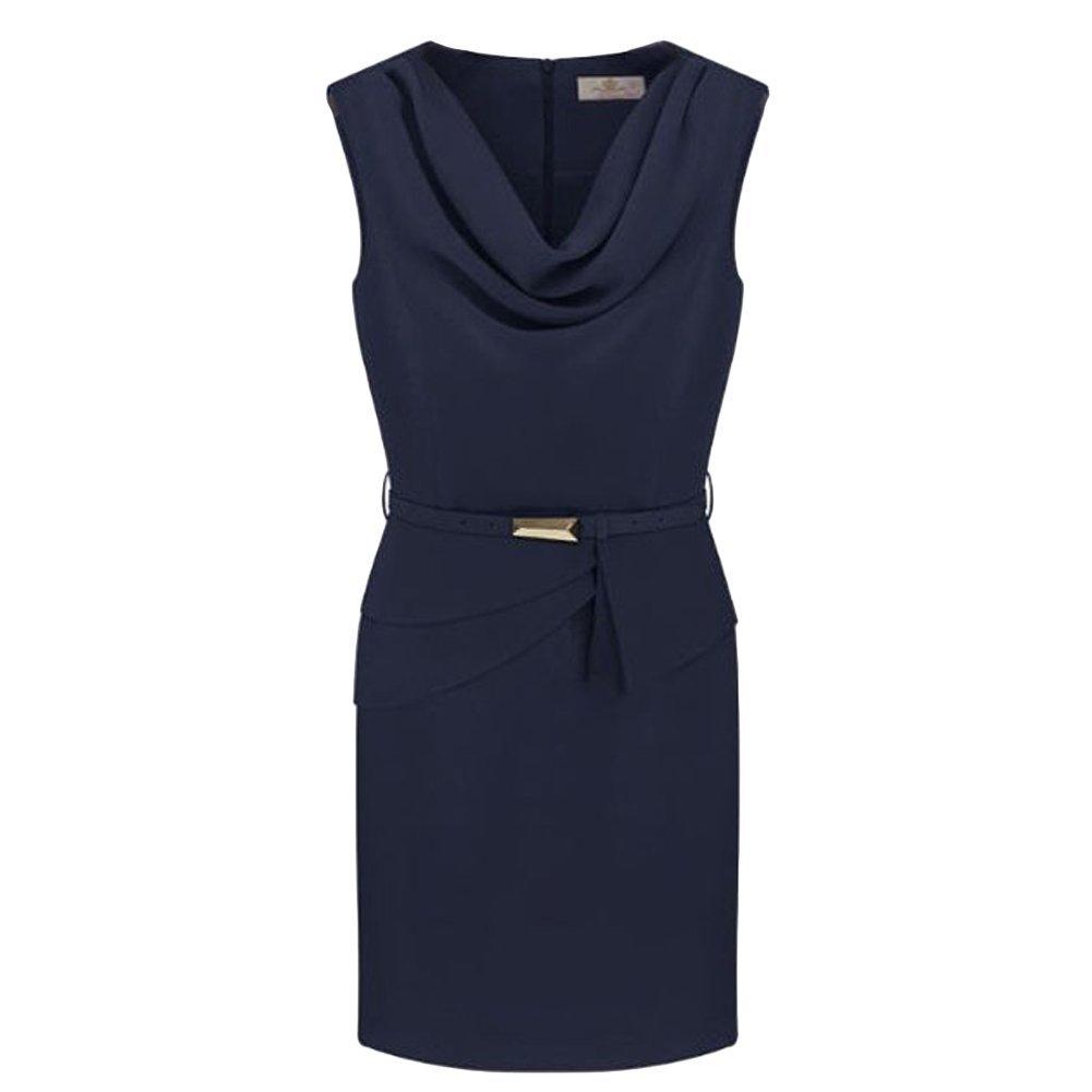 New Fashion Quality Crepe Wrinkle Neck Sleeveless Tiny Dress With Belt 8P