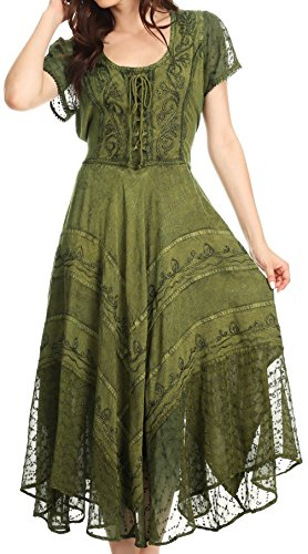 Sakkas 1322 Marigold Embroidered Fairy Dress - Green - 1X/2X for $<!--$39.99-->