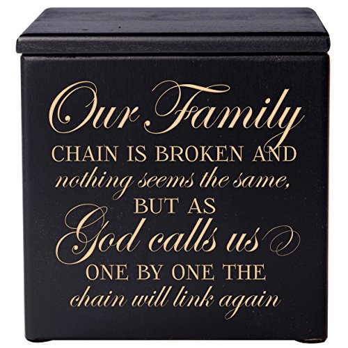 """Cremation Urns for Human Ashes - Small Funeral Urn Keepsake Box for Pets - Memorial Gift for Home or Columbarium Our Family Chain is Broken Holds Small Portion of Ashes 4.5"""" (Black 4.5"""")"""