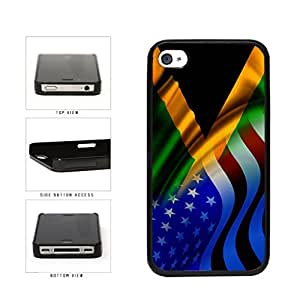 Jamaica and USA Mixed Flag Plastic Phone Case Back Cover Apple iPhone 4 4s