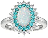 Platinum Plated Sterling Silver Created Opal and Swarovski Paraiba Mint Color Cubic Zirconia 3-Stone Halo Ring