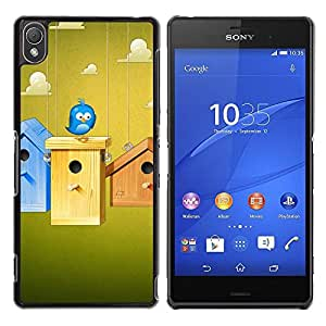 Be Good Phone Accessory // Dura Cáscara cubierta Protectora Caso Carcasa Funda de Protección para Sony Xperia Z3 D6603 / D6633 / D6643 / D6653 / D6616 // Cute Blue Bird