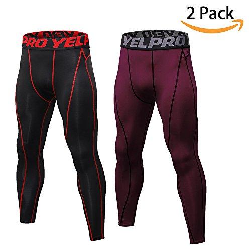 SILKWORLD Men's 2 pack Compression Pants Baselayer Cool Dry Sports Tights Leggings – DiZiSports Store