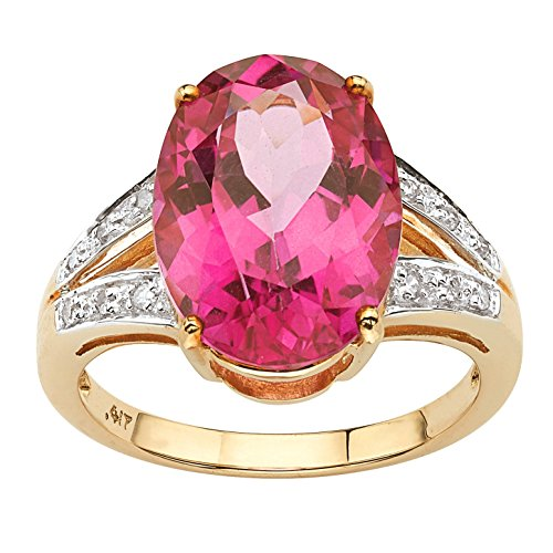 Oval-Cut Sunset Rose Genuine Pink Topaz Diamond Accent 10k Yellow Gold Ring (Diamond Oval Sun Ring)