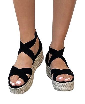 e54dc3779dd Amazon.com  PASLTER Womens Espadrille Flatform Sandals Wedges Heel ...
