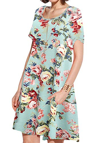(JollieLovin Women's Pockets Casual Swing Loose T-Shirt Dress (1-Light Green, X-Large))