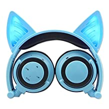 Wireless Bluetooth Cat Ear Headphones,Ocuya Flashing Glowing Cosplay Fancy Cat Headphones Foldable Over-Ear Earphone with LED Flash light for iPhone 7/6S/iPad,Android Mobile Phone,Macbook (blue)