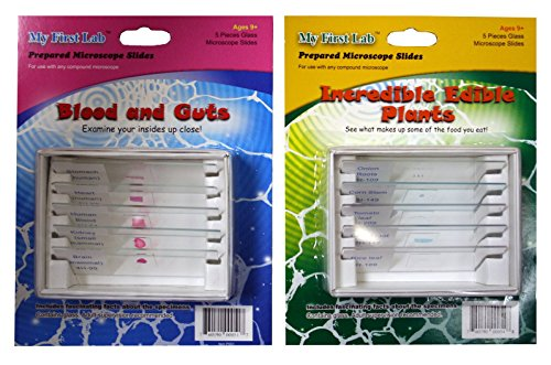My First Lab Prepared Slide Sets - Blood & Guts and Edible Plants - 2 Pack, 5 Slides per Pack, STEM Learning