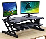 Standing Desk - Adjustable Height Desk Riser - Sturdy 32in. Wide Sit Stand Up Desk with Retractable Keyboard Tray - Fits Dual Monitors and Supports up to 50 Lbs