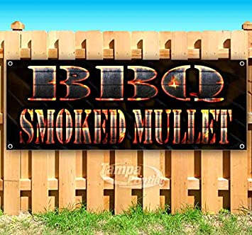 BBQ Smoked Mullet 13 oz Heavy Duty Vinyl Banner Sign with Metal Grommets New Many Sizes Available Flag, Advertising Store