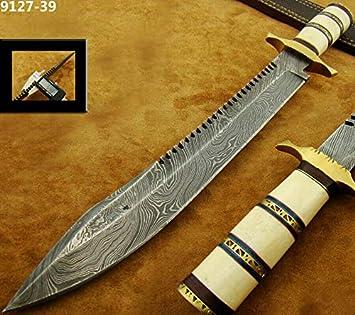 Amazon.com: Cuchillos de caza DS-220 Damasco Cuchillo hecho ...