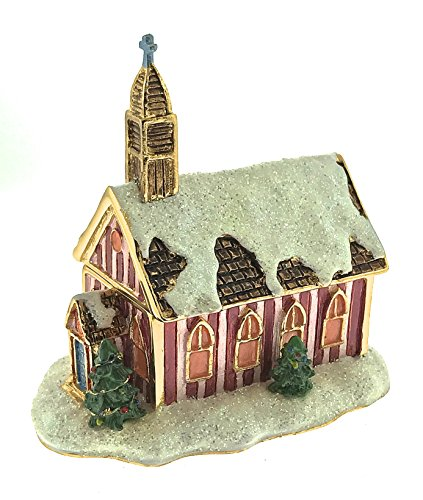 Snowy Church Christmas Jewelry Trinket Box Pewter Bejeweled Enameled Hinged Collectibles