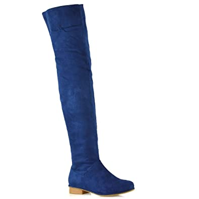 45523e54cb1 Womens Over The Knee HIGH Flat Ladies Long Faux Suede Thigh HIGH Boots Size  3-