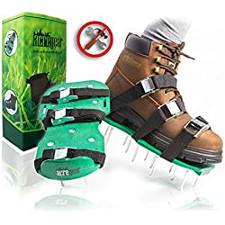 Fully Assembled Lawn Aerator Shoes with 4 Adjustable Straps | Ready to Use Premium Grass Aeration Sandals with Heavy Duty Metal Buckles & Secure Steel Spikes | 4th Strap, Extra Hardware & Instructions