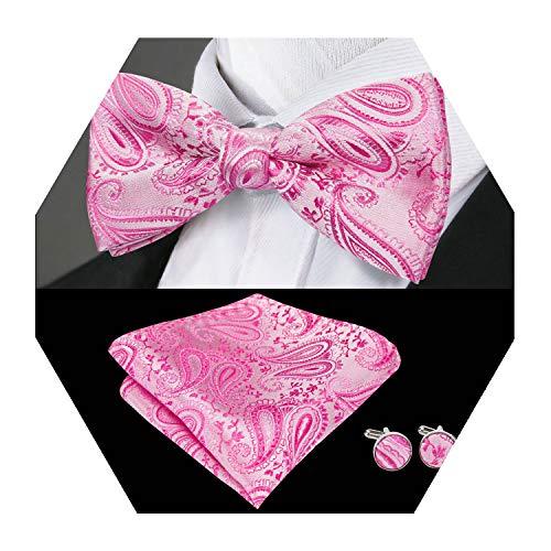 Barry.Wang Mens Silk Bow Tie Set Pre-tied Pink Paisley Necktie Handkerchief Cufflinks