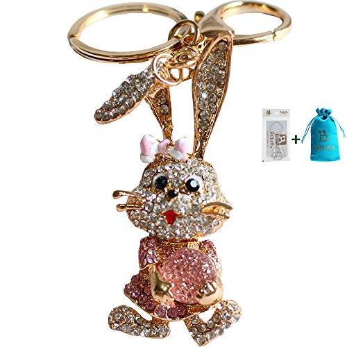 - Bolbove Long Ears Bowtie Rabbit Carrying Diamond Keychain Crystal Keyring Rhinestones Purse Pendant Handbag Charm (Pink)