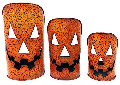 D.I. Inc. Halloween Lantern Rustic Candle Holder Metal Indoor Outdoor Decoration Jack-O'-Lantern 11