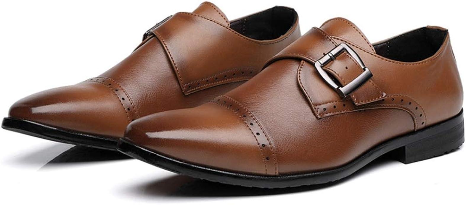 Zapatos Brogue para Hombre Zapatos Antideslizantes Transpirables en Oxfords Mocasines de Vestir Formales de Negocios Trabajo de Oficina Zapatos de Cuero con Punta Puntiaguda: Amazon.es: Zapatos y complementos