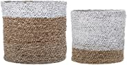 Bloomingville Round White & Brown Sizes White Stripe Natural Seagrass Baskets (Set o