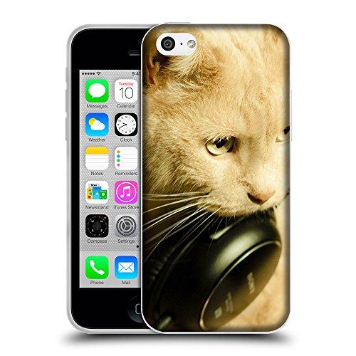 Just Phone Cases Coque de Protection TPU Silicone Case pour // V00004189 rougechat avec un casque noir // Apple iPhone 5C