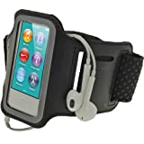 iGadgitz Black Reflective Anti-Slip Neoprene Sports Gym Jogging Armband for Apple iPod Nano 7th Generation 16GB