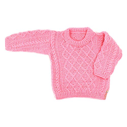 - magic needles Handmade Knit Baby Infant Newborn Winter Woolen Full Sleeves Sleeveless Sweater Pullover Cardigan (Pink 1211, 0-3 Mths)