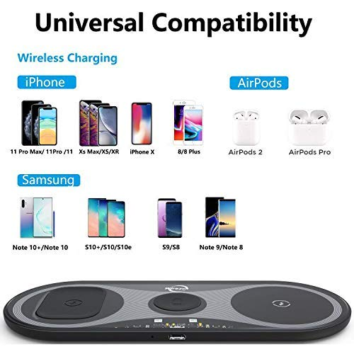 Wireless Charger, Wirezon 3 in 1 Wireless Charging Station for Phone, iwatch, Airpods, Fast Charging Stand Compatible with iWatch 1/2/3/4/5 AirPods Pro/2 iPhone 12 Pro/11 Pro Max/11/SE/XR/XS/X/8/8P