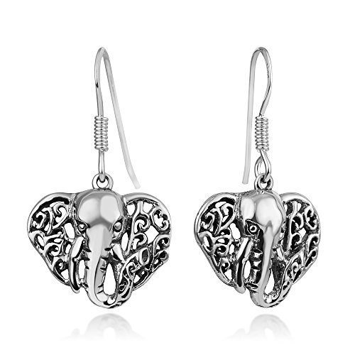 (925 Oxidized Sterling Silver Filigree Wild African Elephant Head Dangle Hook Earrings 1.2 Inches)