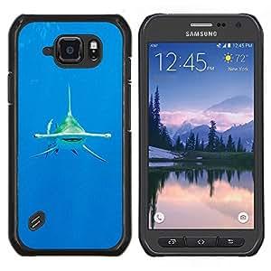 Buceo Shark Océano Tropical Mar- Metal de aluminio y de plástico duro Caja del teléfono - Negro - Samsung Galaxy S6 active / SM-G890 (NOT S6)