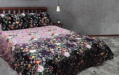 (Gamanatura Home Bedding 3 Piece Queen Size Bed Duvet Comforter Cover Set Rich Floral Wild Flowers Pattern in Shades of Purple Orange Red Pink Cream Green on Lavender with Yellow Birds)