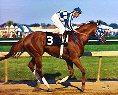 Art is from my original Painting - this is a poster not a canvas print. Triple Crown Winner Secretariat Wins Triple Crown Poster 16 x 20